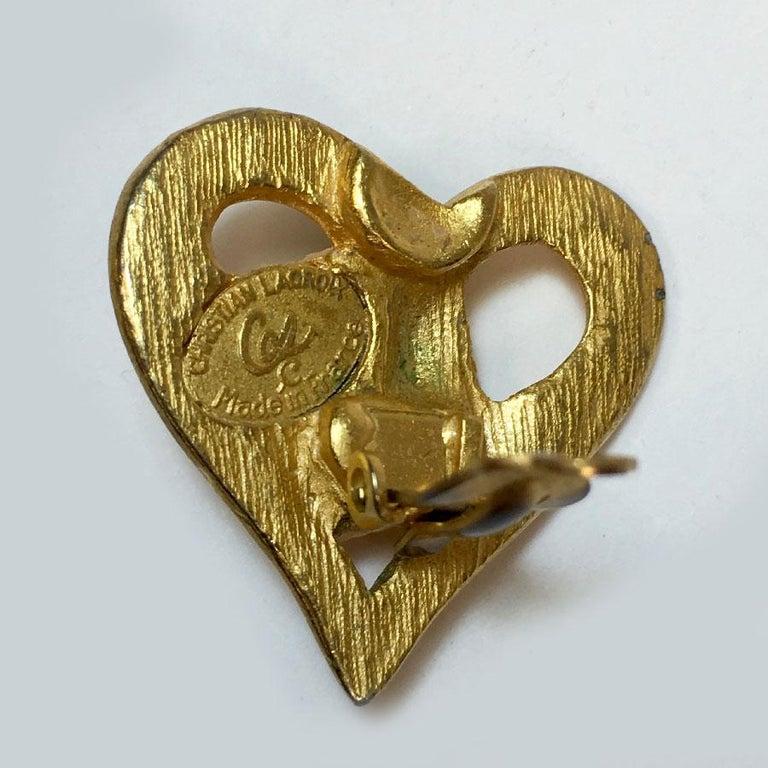 Women's Christian Lacroix Vintage Heart Clip Earrings For Sale