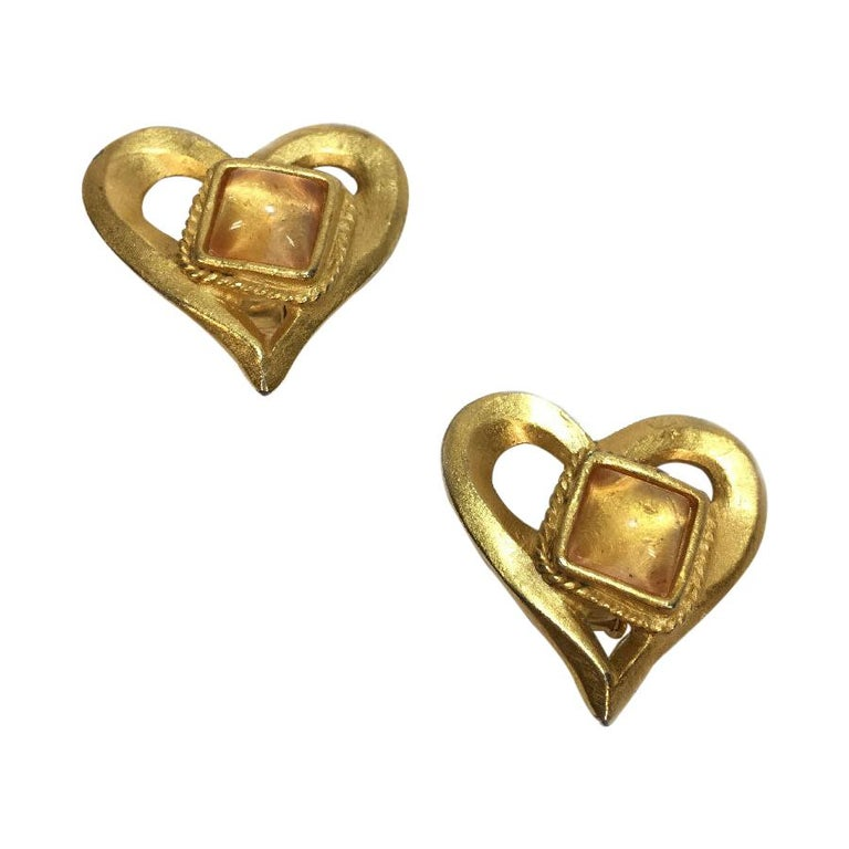 Christian Lacroix Vintage Heart Clip Earrings For Sale