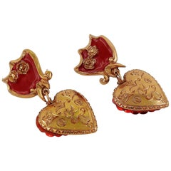 Christian Lacroix Vintage Heart Dangling Earrings