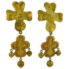 Christian Lacroix Vintage Iconic Cross Dangling Earrings