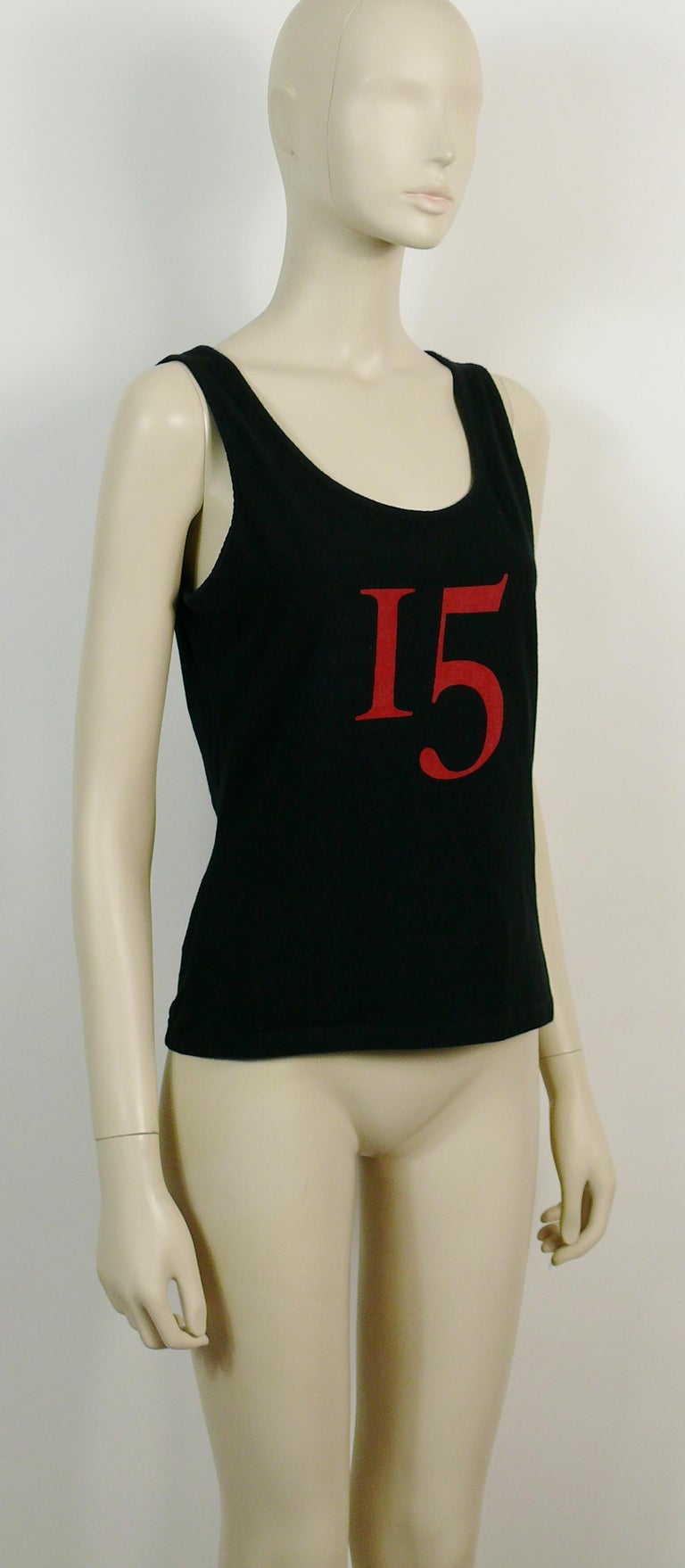 CHRISTIAN LACROIX vintage black tank top featuring an iconic large jewelled cross print on the back and a red