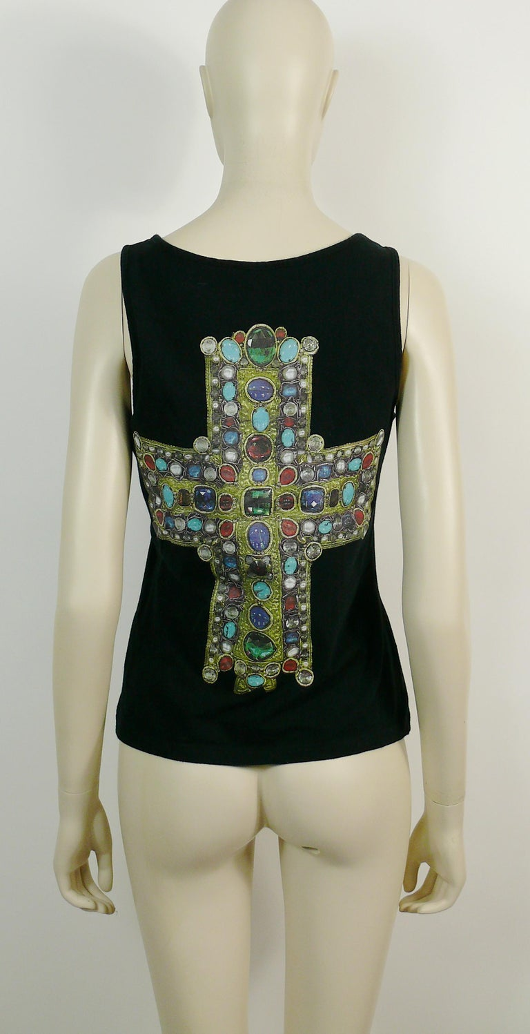 Black Christian Lacroix Vintage Iconic Jewelled Cross Print Tank Top For Sale