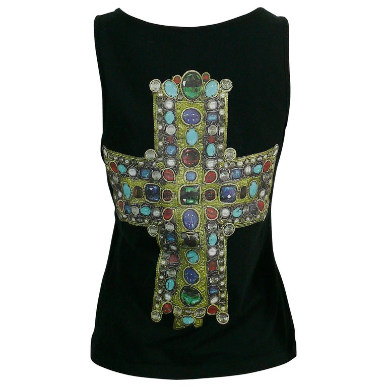 Christian Lacroix Vintage Iconic Jewelled Cross Print Tank Top For Sale