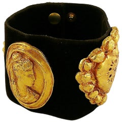 Christian Lacroix Vintage Iconic Roman Heart Medallion Brown Velvet Cuff