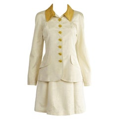 Christian Lacroix Vintage Ivory Faille & Gold Lamé Two Piece Skirt Suit, 1990s