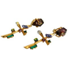 Christian Lacroix Vintage Jewelled Abstract Cross Dangling Earrings