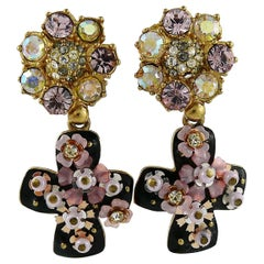 Christian Lacroix Vintage Jewelled Black Enamel Cross Dangling Earrings