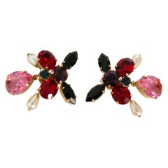 Christian Lacroix Vintage Jewelled Butterfly Shaped Clip On Earrings