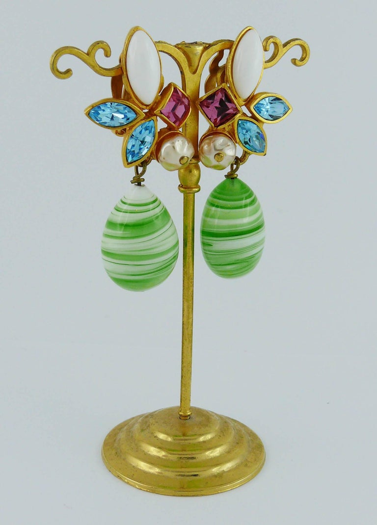 CHRISTIAN LACROIX vintage dangling earrings (clip-on) embellished with multicolored crystals, glass cabochon, faux pearl and a large pate de verre drop.  Marked CHRISTIAN LACROIX CL Made in France.  Indicative measurements : length approx. 5.2 cm