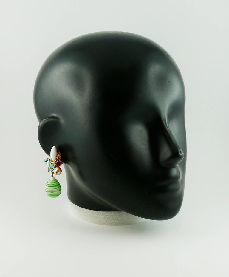 Christian Lacroix Vintage Jewelled Dangling Earrings In Excellent Condition For Sale In Nice, FR