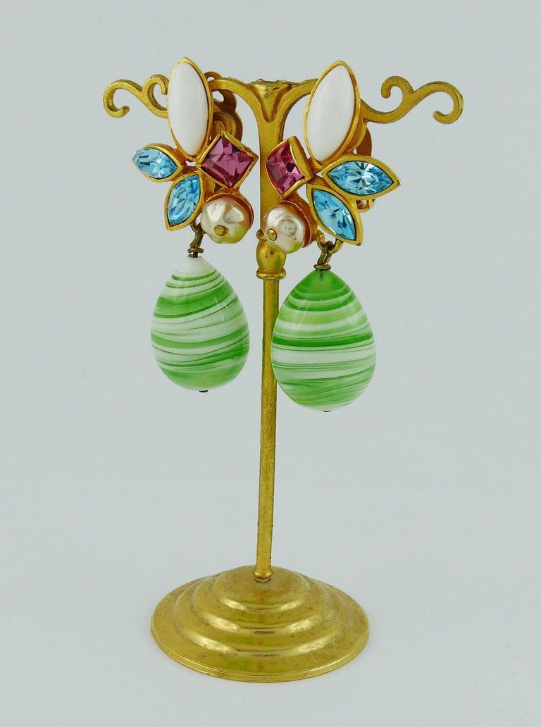 Women's Christian Lacroix Vintage Jewelled Dangling Earrings For Sale