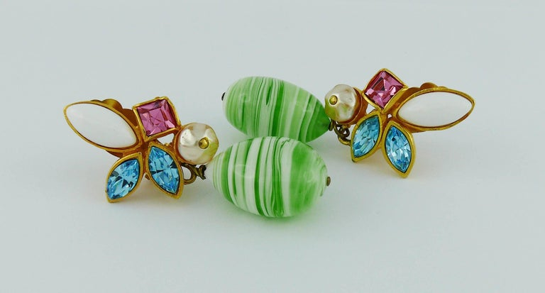 Christian Lacroix Vintage Jewelled Dangling Earrings For Sale 1