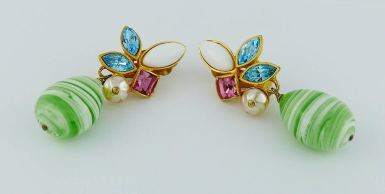 Christian Lacroix Vintage Jewelled Dangling Earrings For Sale 2