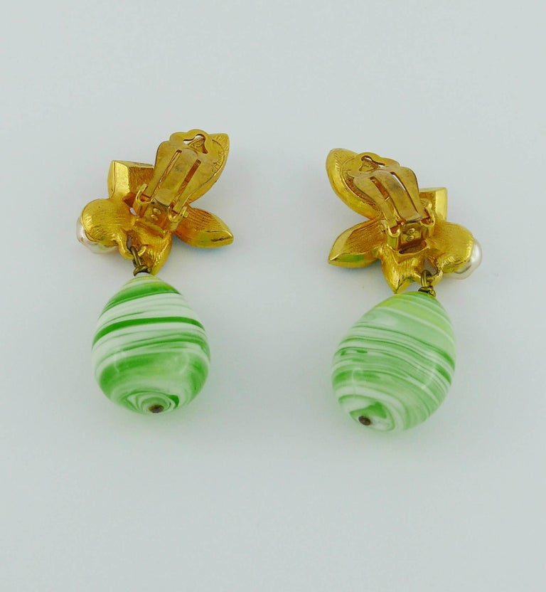 Christian Lacroix Vintage Jewelled Dangling Earrings For Sale 3