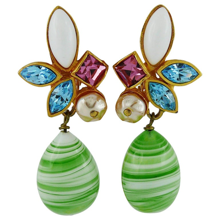 Christian Lacroix Vintage Jewelled Dangling Earrings For Sale