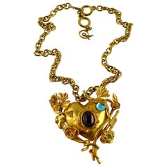 Christian Lacroix Vintage Jewelled  Floral Mirrored Heart Pendant Necklace