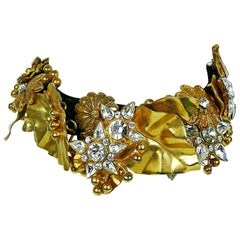 Christian Lacroix Vintage Jewelled Gold Toned Choker
