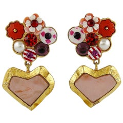 Christian Lacroix Vintage Jewelled Heart Dangling Earrings