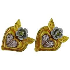 Christian Lacroix Vintage Jewelled Heart Flower Clip On Earrings
