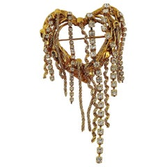 Christian Lacroix Vintage Jewelled Openwork Heart Brooch