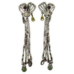 Christian Lacroix Vintage Jewelled Silver Toned Brutalist Dangling Earrings