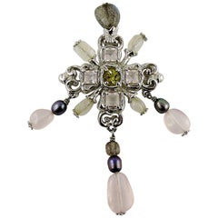 Christian Lacroix Vintage Jewelled Sterling Silver Cross Pendant Brooch
