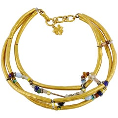 Christian Lacroix Vintage Jewelled Tubula Choker Necklace