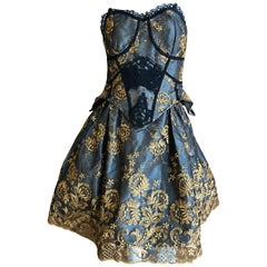 Christian Lacroix Vintage Lace Overlay Cocktail Dress with Embroidery Details