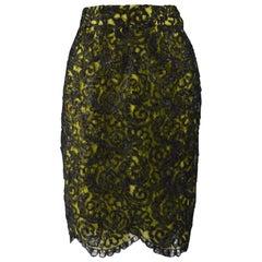 Christian Lacroix Vintage Lace & Raffia Skirt