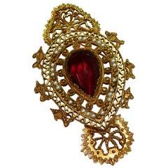 Christian Lacroix Vintage Massive Baroque Faux Ruby Pendant Brooch