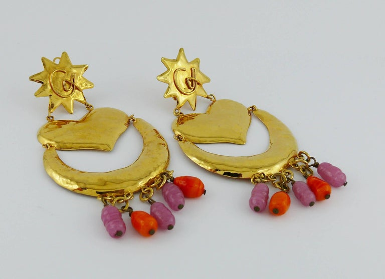Christian Lacroix Vintage Massive Dangling Earrings In Excellent Condition For Sale In Nice, FR