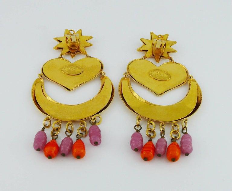 Christian Lacroix Vintage Massive Dangling Earrings For Sale 3