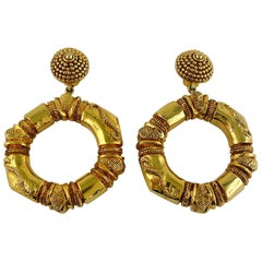 Christian Lacroix Vintage Massive Ethnic Inspired Hoop Earrings