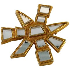 Christian Lacroix Vintage Massive Gold Toned Mirrored Abstract Sun Brooch