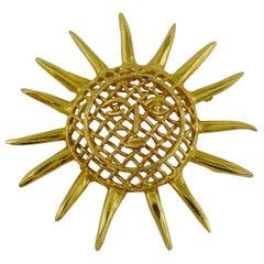 Christian Lacroix Vintage Massive Gold Toned Sun Brooch