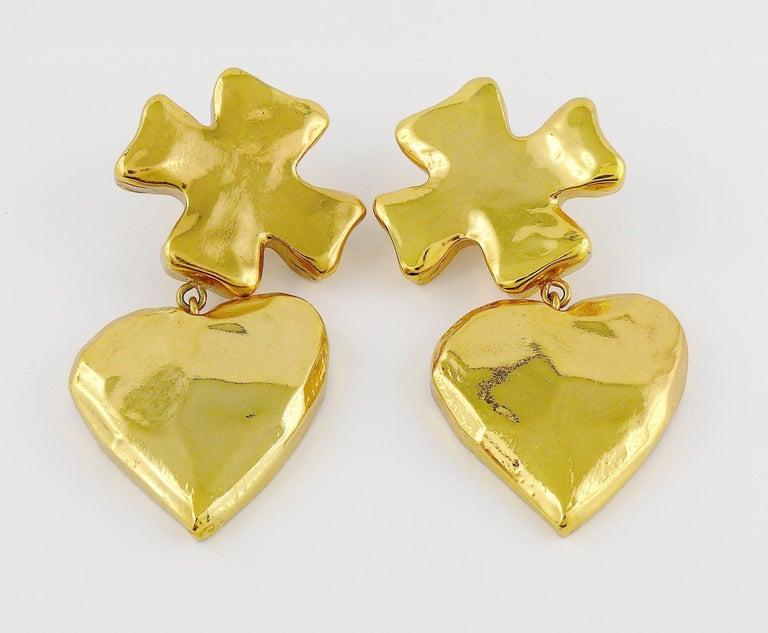 Women's Christian Lacroix Vintage Massive Iconic Cross Heart Dangling Earrings