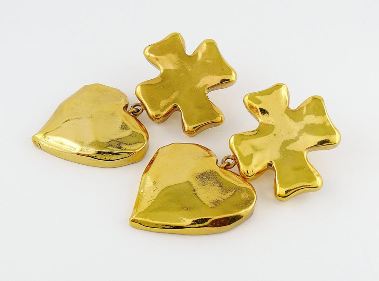 Christian Lacroix Vintage Massive Iconic Cross Heart Dangling Earrings 1