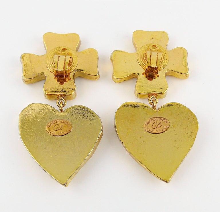 Christian Lacroix Vintage Massive Iconic Cross Heart Dangling Earrings 2