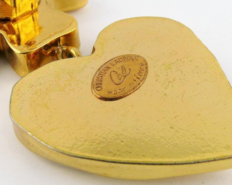 Christian Lacroix Vintage Massive Iconic Cross Heart Dangling Earrings 3