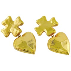 Christian Lacroix Vintage Massive Iconic Cross Heart Dangling Earrings
