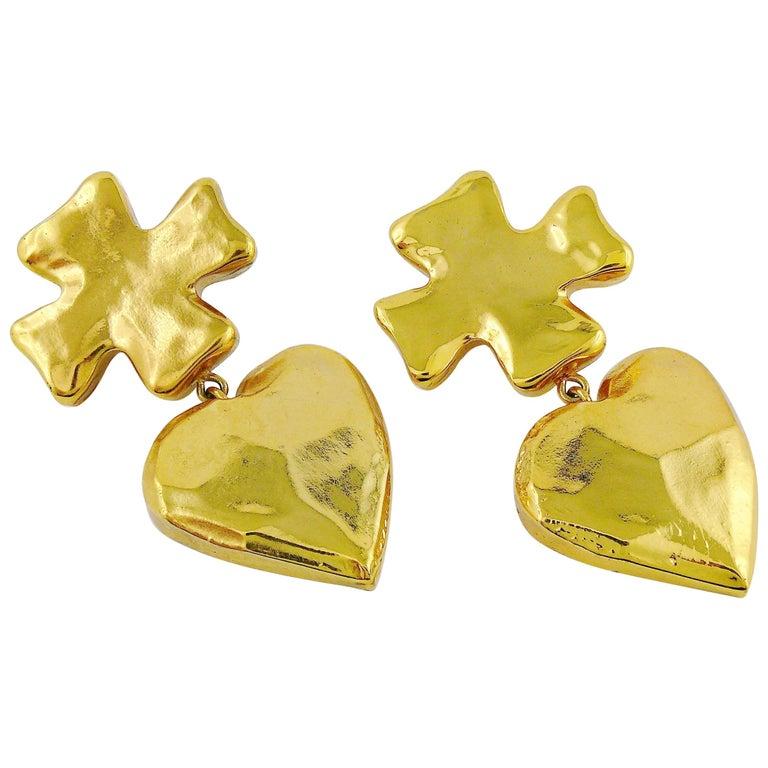 Christian Lacroix Vintage Massive Iconic Cross Heart Dangling Earrings