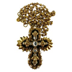 Christian Lacroix Vintage Massive Iconic Jewelled Cross Pendant Necklace