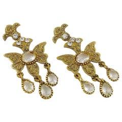 Christian Lacroix Vintage Massive Jewelled Chandelier Butterfly Earrings