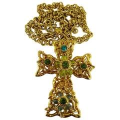 Christian Lacroix Vintage Massive Jewelled Cross Pendant Necklace