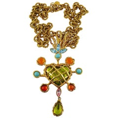 Christian Lacroix Vintage Massive Jewelled Heart Pendant Necklace