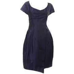 Christian Lacroix Vintage Midnight Blue Silk Evening Dress