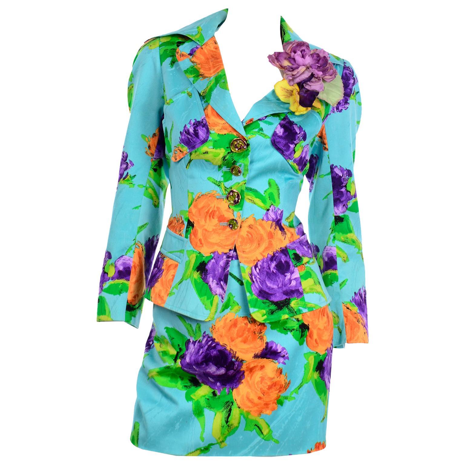 Christian Lacroix Vintage Mini Skirt Jacket Suit Colorful Turquoise Floral Print