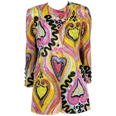 Christian Lacroix Vintage Multicolor Iconic Heart Print Jacket