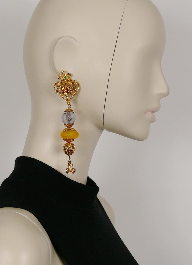 CHRISTIAN LACROIX vintage extra long gold toned dangling earrings (clip-on) featuring an openwork heart embellished with multicolor crystals and large resin beads.  Marked CHRISTIAN LACROIX CL Made in France.  Indicative measurements : height