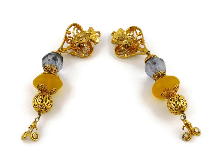 Christian Lacroix Vintage Openwork Heart Extra Long Dangling Earrings For Sale 3